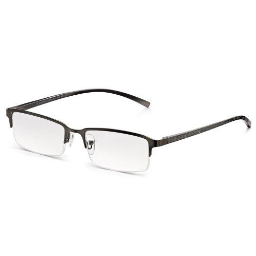 Read Optics Herren Lesebrille: Lesehilfe mit rechteckigem Supra Halbrahmen in modernem Chrom/Grau. Entspiegelte und kratzfeste Premium Difuzer™ Gläser mit UV Schutz. Hochwertige Brille in Stärke +1,5
