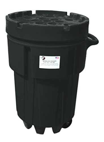 Black Diamond 1299-BD Wheeled Poly SpillPack Drum, Animal Proof Trash Can, 95 gal, 48' Height, 31' Length, 31' Width, Black (Pack of 2)