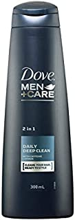 Dove Mens' Hair Shampoo, Daily Deep Clean 2 in 1, 300 ml