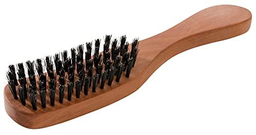 REMOS Haarbürste mit 100% Wildschweinborste aus Birnbaumholz mit schmalem Griff