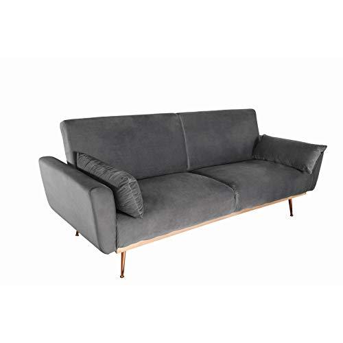 Invicta Interior Retro Schlafsofa BELLEZZA 208cm grau Samt 3-Sitzer Couch inkl. Kissen Sofa Schlafcouch Couch