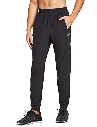 BALEAF EVO Men's Lightweight Jogger Pants Workout Running Athletic Training Gym Dry Fit Tapered Joggers Zipper Pockets Black M