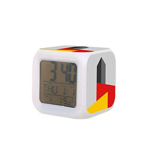 Bauhaus Tower Elektrischer Wecker Nachtlicht Schlaf-Timer Ton Maschine Temperatur-Erkennung mit 7 Farben von Lichtern