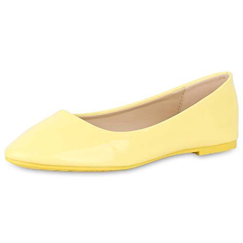 SCARPE VITA Damen Klassische Ballerinas Elegante Slip On Schuhe Lack Slipper Flache Abendschuhe Flats Glitzer 181586 Gelb Lack 36