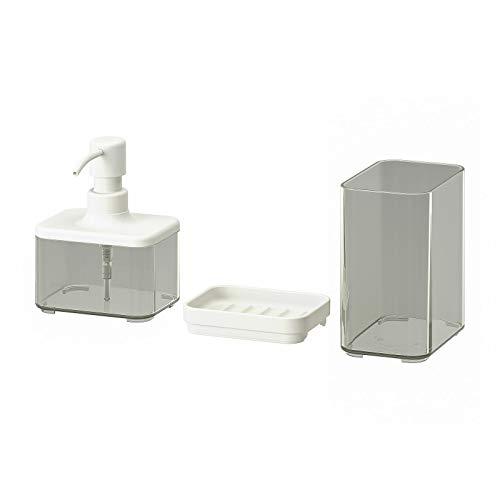IKEA BROGRUND dozownik mydła, kubek na szczoteczkę do zębów i mydelniczka, zestaw 3 szt