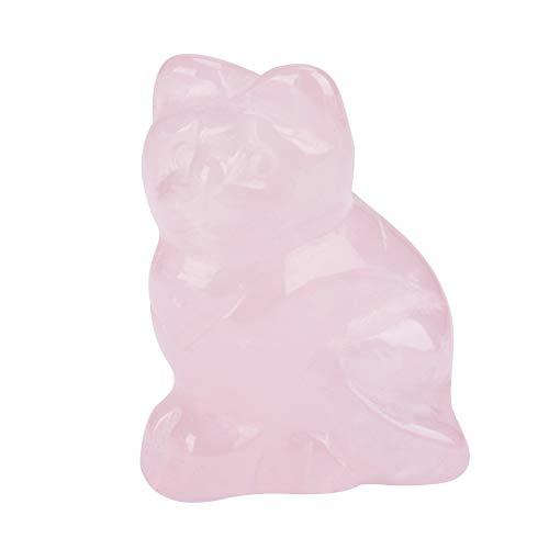 HEEPDD Rosenquarz Dekorationen, Geschnitzte natürliche Rosenquarz Edelstein rosa Kristall Kätzchen Heilung Guardian Statue Figur Handwerk 1,5 Zoll