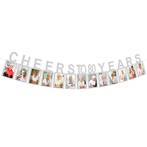 Cheers to 80 Years Silver Photo Banner