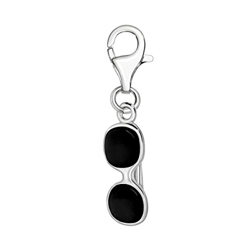 Quiges 925 Sterling Silver Black Enamel 3D Sun Glasses Lobster Clasp Charm Clip on Pendant