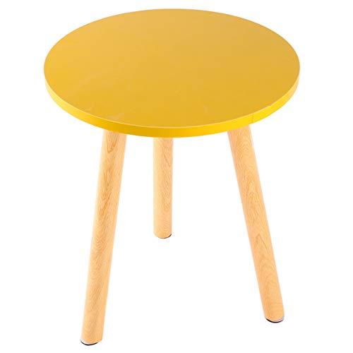 VICASKY Tavolino Rotondo Salotto Bianco in Legno Tavolino Tavolino Tavolo da Pranzo Tavolino Tavolo da Pranzo Moderno Tondo Design retrò Diametro 29 cm Forma Rotonda