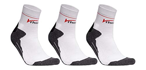 Rhodea Sport Laufsocken Unisex Herren Damen Socken Bio-Baumwolle (Weiß, 39-42)