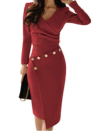 Lrady Women's Deep V Neck Casual Work Bodycon Cocktail Party Pencil Midi Dress, Red, X-Large
