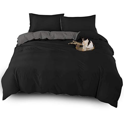Adam Home 4PCS Complete Reversible Duvet Cover & Fitted Sheet(Black/Grey, Double)