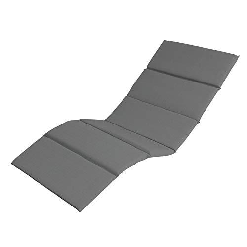Ampel 24 Gartenstuhlauflage für Sonnenliegen, Polsterauflage ca. 170x60 cm, Polster ca. 5 cm dick, Sitzauflagen-Bezug grau, Auflage für Gartenmöbel