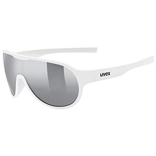 uvex Unisex Jugend, sportstyle 512 Sonnenbrille, white/litemirror silver, one size
