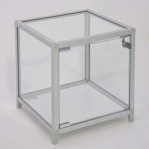 MHN kleine vierkante tafel presentatievitrine verlicht met slot 32 cm zilver