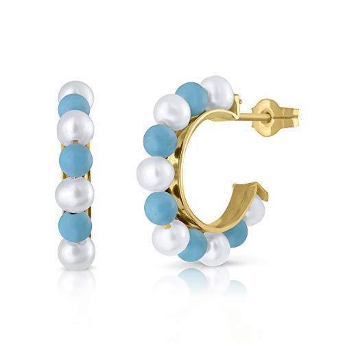 Pendientes oro 18k o 9k, niña o mujer, aros argolla con perla cultivada de calidad, coral o turquesa. Medida de la joya 10 milímetros y cierre de presion,