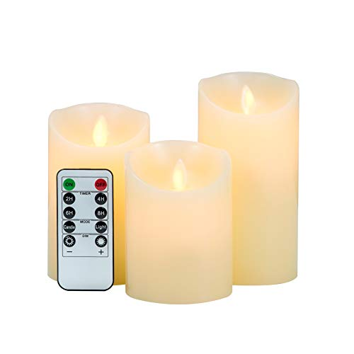 3-Pack LED Flameless Candles: LOFTEK Dripless Real Wax Mood Light with Realistic Dancing Flame, 10-Key Remote with Timer, Cordless Pillars Tea Light, 360 Hours Battery Life, 4 5 6 Set of 3