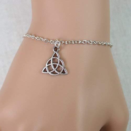 Tiny Celtic Trinity Knot Bracelet Antique Silver Celtic Trinity Knot Charm Irish Celtic Jewelry Celtic Triquetra Adjustable Bracelet