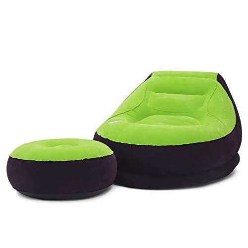 XUE-SHELF Aufblasbare Freizeit Sofa, Stuhl und Fußbank Außen Folding Lounger Sofa Beflockung Faule Couch,Grün,Manual Inflation