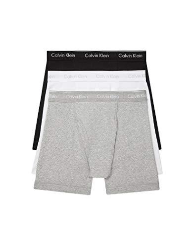 Calvin Klein Men#039s 100% Cotton Boxer Briefs Black/White/Grey Heather 3 Pack New XLarge