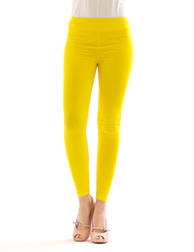 Leggins largos para mujer, algodón amarillo XL