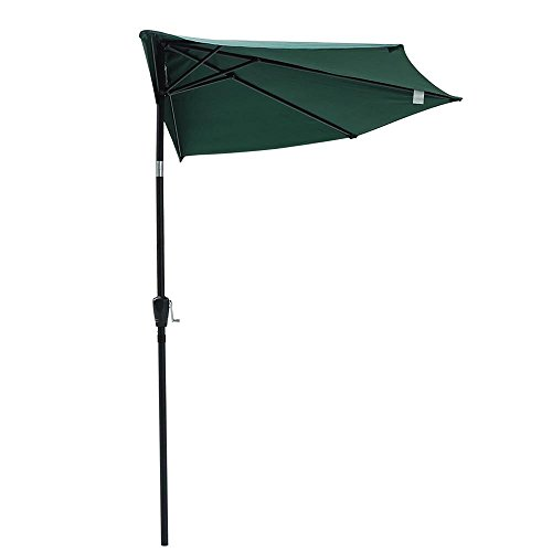Yescom 10Ft Green Outdoor Patio Half Umbrella Cafe Wall Balcony Door 5 Ribs Tilt Aluminum Sun Shade