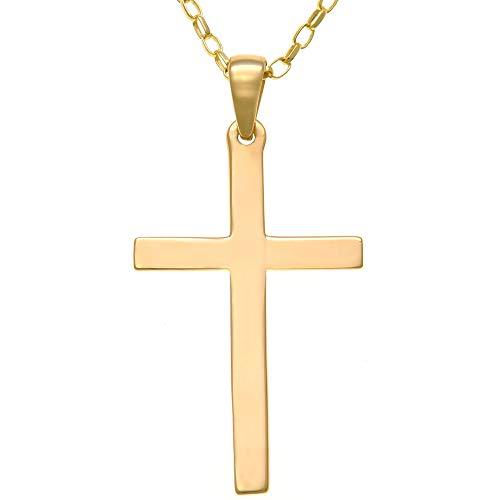 Grand pendentif en forme de croix en or 9 carats avec chaîne en or de 45,7 cm et boîte cadeau