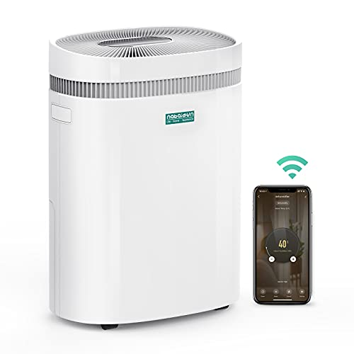 Dehumidifier-50 Pint 3000Sq. Ft Safe Dehumidifier for Home with Extra Large Water Tank WiFi Remote Control Wheels Damp Rid Moisture Absorber for Basement Bedroom Garage Living Rooms(30Pint 2019 DOE)