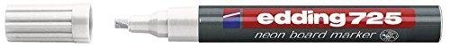 Neon-Boardmarker edding 725, nachfüllbar, 2 - 5 mm, weiß Farbe weiß Strichstärke 2 - 5 mm Spitze Keilspitze(Liefermenge=2)