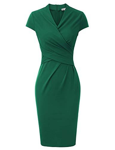 GRACE KARIN Abito Donna Autunno Midi Bodycon Vestito Verde Cocktail Vestiti Sera Party Club Abito da Sposa M CLE02037-3
