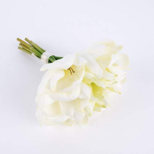 Mooi leven. Kunstbloem amaryllis boeket 9 bloemen wit 23 cm