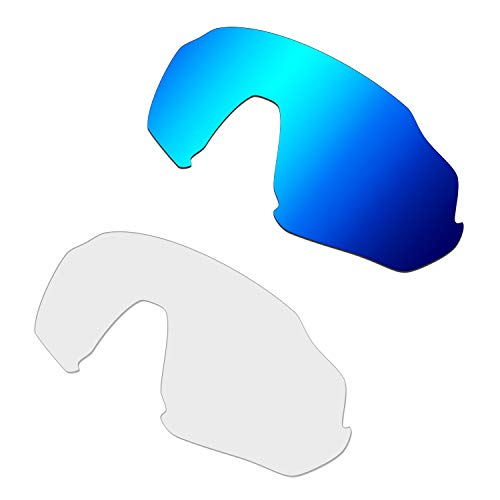 HKUCO Renforcer Rechange Lentille Pour Oakley Flight Jacket Lunettes de soleil Bleu/Transparent Polarisé