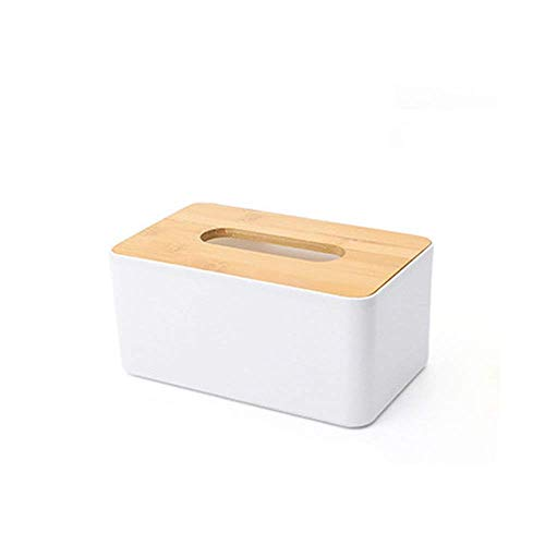 SKYEI Caja de Tejido Dispensador de Toalla de Papel Cubierta de Madera Blanca Diseño Simple Conjunto versátil de decoración del hogar para la Cubierta de la Caja de la Sala de Estar