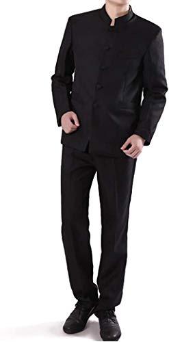 Chinese Tunic Suits Mandarin Collar Formal Black Suit Slim Fit Front Button Japanese School Uniform Groom Dress (Black, XL)