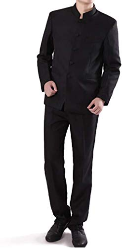 Chinese Tunic Suits Mandarin Collar Formal Black Suit Slim Fit Front Button Japanese School Uniform Groom Dress (Black, XL)