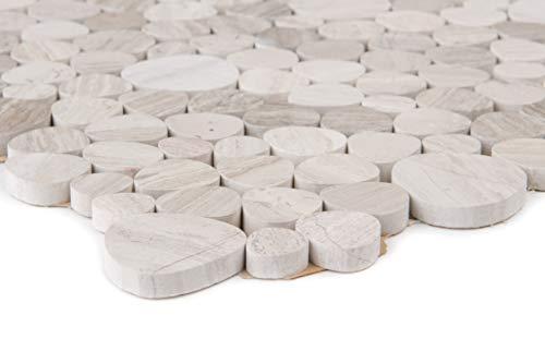 Natursteinmosaik Flusskiesel grau oval flach geschliffen Wand Boden Dusche WC Küche   1 Matte   ES-65622_b