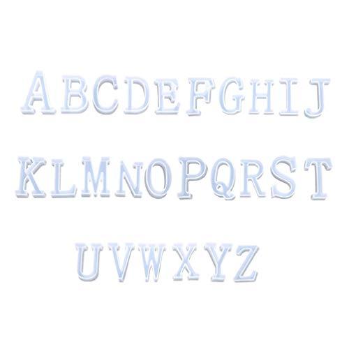 YAOYAN Juego de 26 moldes de silicona de resina epoxi con letras inglesas del alfabeto para manualidades, joyas hechas a mano, modelo creativo, forma de letra de resina con forma de letra del alfabeto