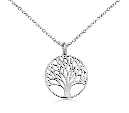 Nuoli® Damen Kette Lebensbaum Silber (45 + 5cm verstellbar) Lebensbaum Anhänger für Frauen & Mädchen, aus poliertem Edelstahl