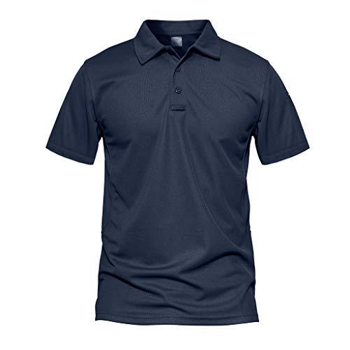 MAGCOMSEN Sportshirt Herren Militär Polo-Shirt Taktisch Combat Hemd für Männer Casual Kurzarm Shirt Quick Dry Shirt Outdoor Wandern Poloshirt Funktionsshirt Dunkelblau L