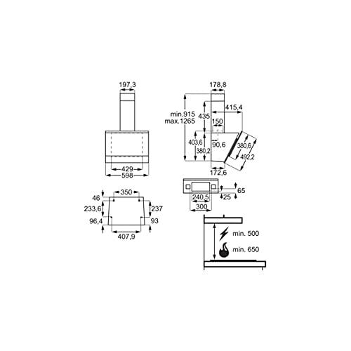 AEG DVE5671HG Face Glam EEK: A Dunstabzugshaube, 60cm breit, Ab-/Umluft, Touch-Bedienung, schwarz/Edelstahl