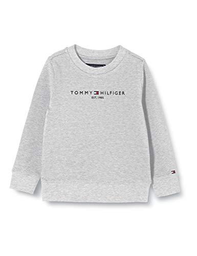 Tommy Hilfiger Jungen Essential Cn Sweatshirt, Grau (Light Grey Heather P01), 6-7 Jahre (Herstellergröße: 7)