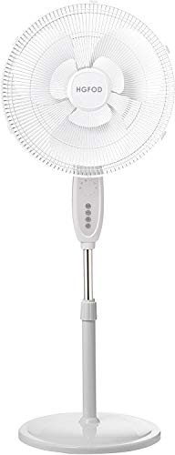 HGFOD Double Blade 16 Pedestal Fan White with Remote Control