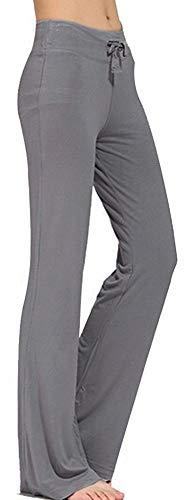 TownCat Trainingshose für Damen, Yoga-Hose, legere Yoga-Hose mit Kordelzug für Yoga und Jogger Gr. (Grau, M)