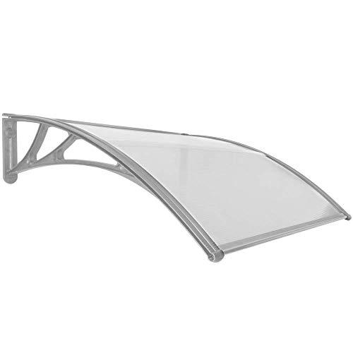 PrimeMatik - Tejadillo de protección 120x100cm Marquesina para Puertas y Ventanas Gris