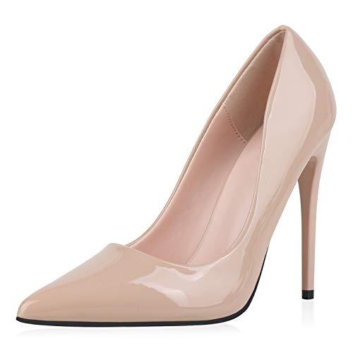 SCARPE VITA Damen Pumps High Heels Elegante Lack Schuhe Stiletto Absatzschuhe Spitze Partyschuhe 186260 Beige 39
