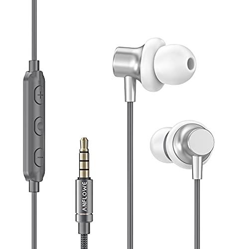 Anflowe Auriculares Deportivos In-Ear con Micrófono, Sonido Potente, Ajuste Cómodo y Seguro, Resistentes al Sudor, Auriculares de Botón con Cable para Running, Correr - Plateado