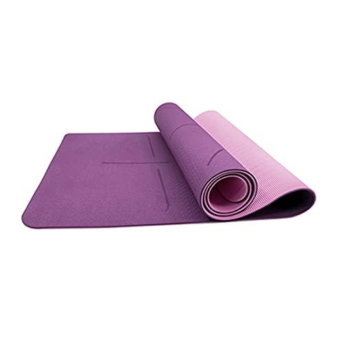 ZZRTEC Esterilla De Yoga,TPE Esterilla Deporte Antideslizante Y Alfombra Fitness LíNea De Posición, Adecuada para AeróBic Yoga Pilates Y Gimnasia(183 × 61 × 1,0 Cm) Purple