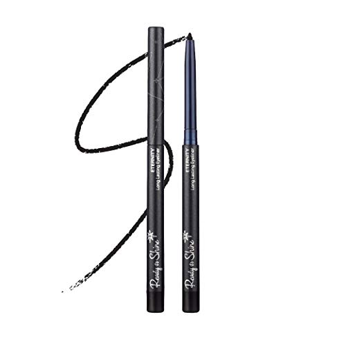 Black Eternity All Natural Waterproof Mechanical Eyeliner Pencil With Built In Sharpener, Easy Glide Skin Care Formula Slides On Smooth Stays Soft For Blending - Moisturizing Jojoba Oil & Vitamin E