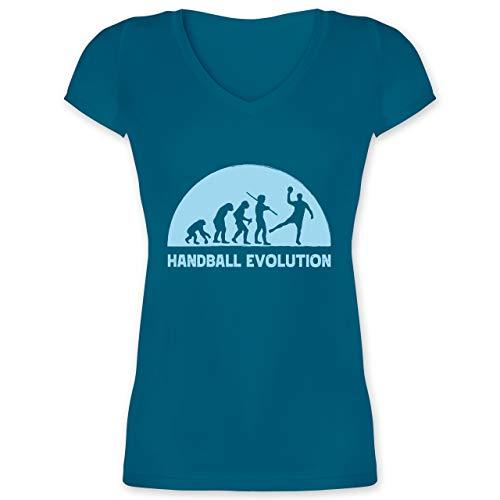 Handball - Handball Evolution hellblau - XXL - Türkis - Spruch - XO1525 - Damen T-Shirt mit V-Ausschnitt