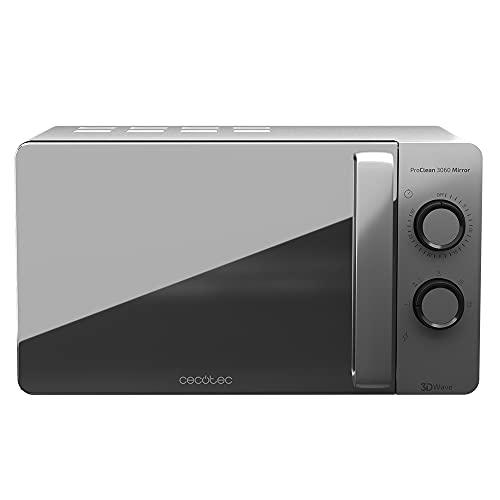 Cecotec - Microonde nero, 20 L, 6 livelli, tecnologia 3DWave, 700 W, effetto specchio, rivestimento Ready2Clean per una pulizia facile (Gray Mirror)